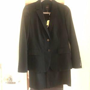 J.CREW Super 120s Wool Black Suit Blazer and Skirt